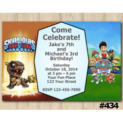 Twin Skylanders and Paw Patrol Invitation | BobMini