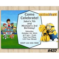 Twin Paw Patrol and Minions Invitation