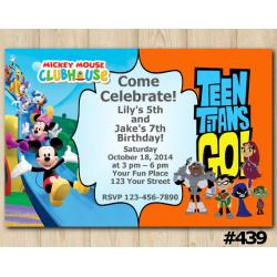 Twin Mickey Mouse and Teen Titans Go Invitation