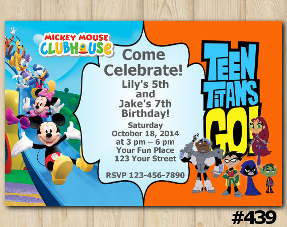 Twin Mickey Mouse and Teen Titans Go Invitation | Personalized Digital Card