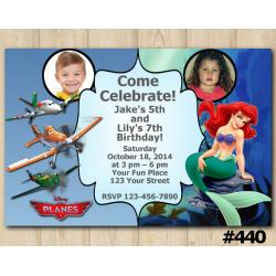 Twin Disney Planes and Ariel Invitation with Photo