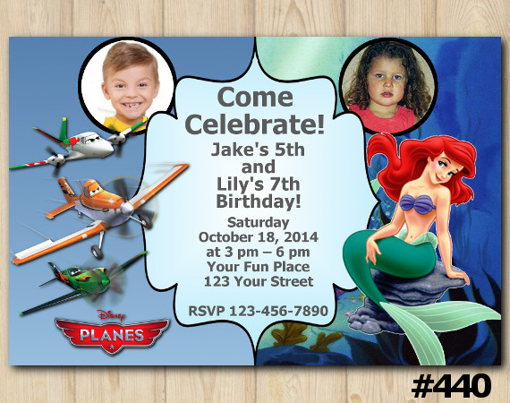 Twin Disney Planes and Ariel Invitation with Photo | Personalized Digital Card