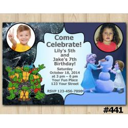Twin TMNT and Frozen Invitation with Photo