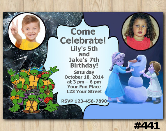 Twin TMNT and Frozen Invitation with Photo   Personalized Digital Card