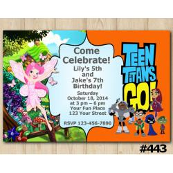 Twin Fairy Garden and Teen Titans Go Invitation