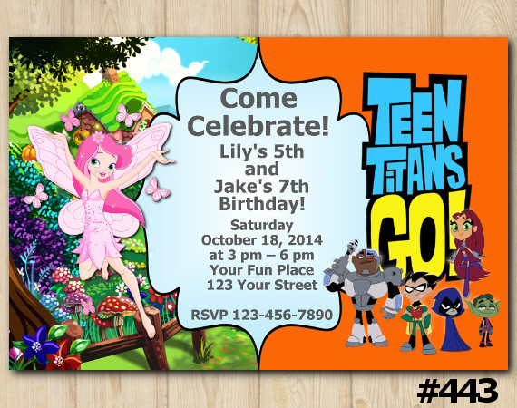 Twin Fairy Garden and Teen Titans Go Invitation | Personalized Digital Card