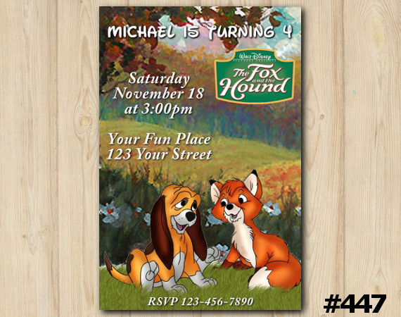 Disneys the Fox and the Hound Invitation   Personalized Digital Card