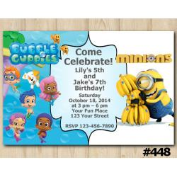Twin Bubble Guppies and Minions Invitation
