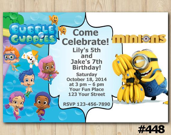 Twin Bubble Guppies and Minions Invitation | Personalized Digital Card