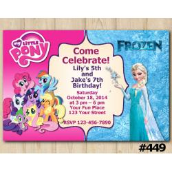 Twin My Little Pony and Frozen Invitation