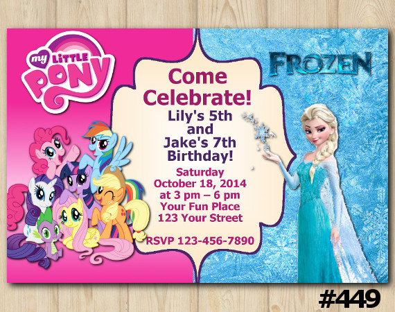 Twin My Little Pony and Frozen Invitation | Personalized Digital Card