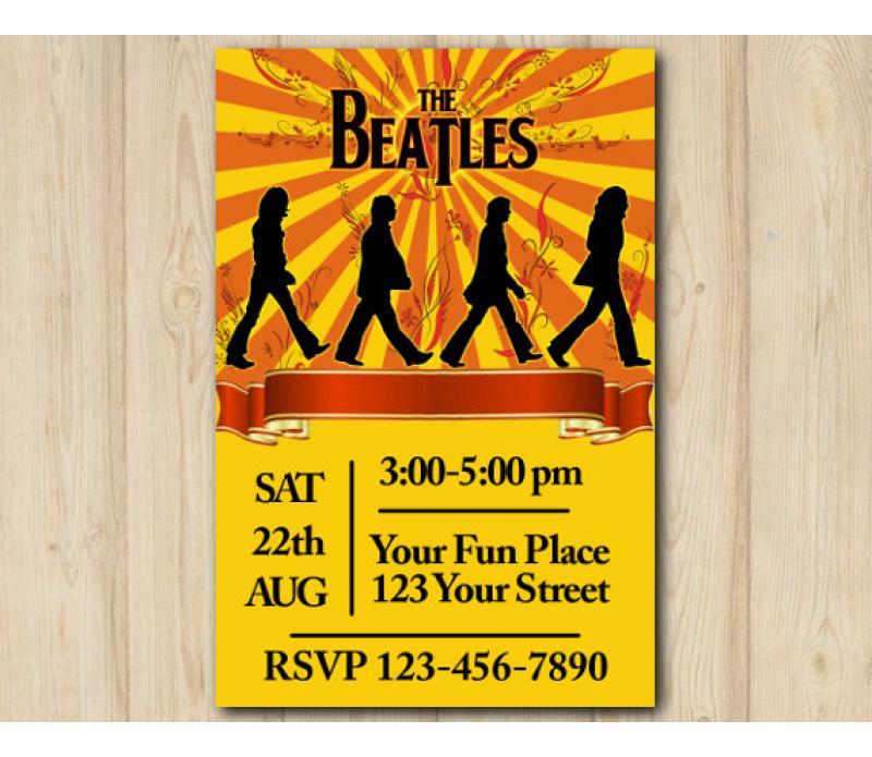 Beatles Birthday Invitation Beatles Invitation Template
