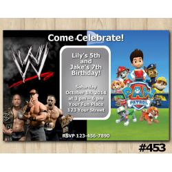 Twin WWE and Paw Patrol Invitation