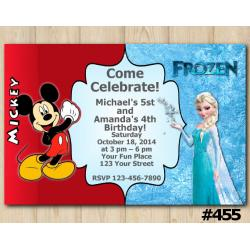 Twin Mickey Mouse and Frozen Invitation