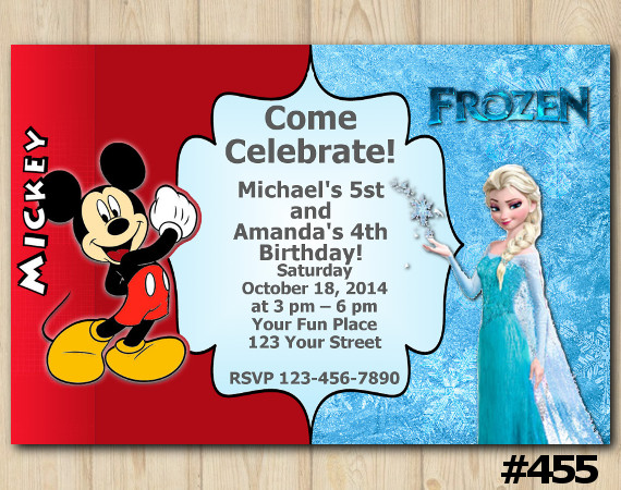 Twin Mickey Mouse and Frozen Invitation | Personalized Digital Card