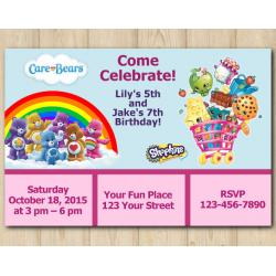 Twin Care Bears and Shopkins Invitation