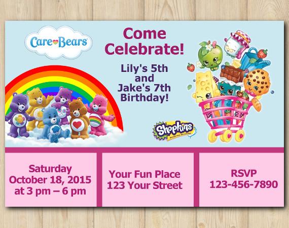 Twin Care Bears and Shopkins Invitation | Personalized Digital Card