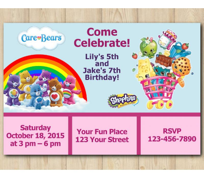 picture about Shopkins Printable Invitations called Dual Treatment Bears and Shopkins Invitation Customized Electronic Card