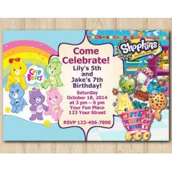 Twin Care Bears and Shopkins s Invitation
