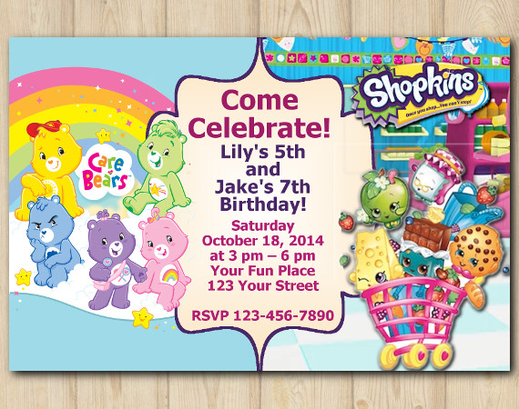 Twin Care Bears and Shopkins s Invitation | Personalized Digital Card