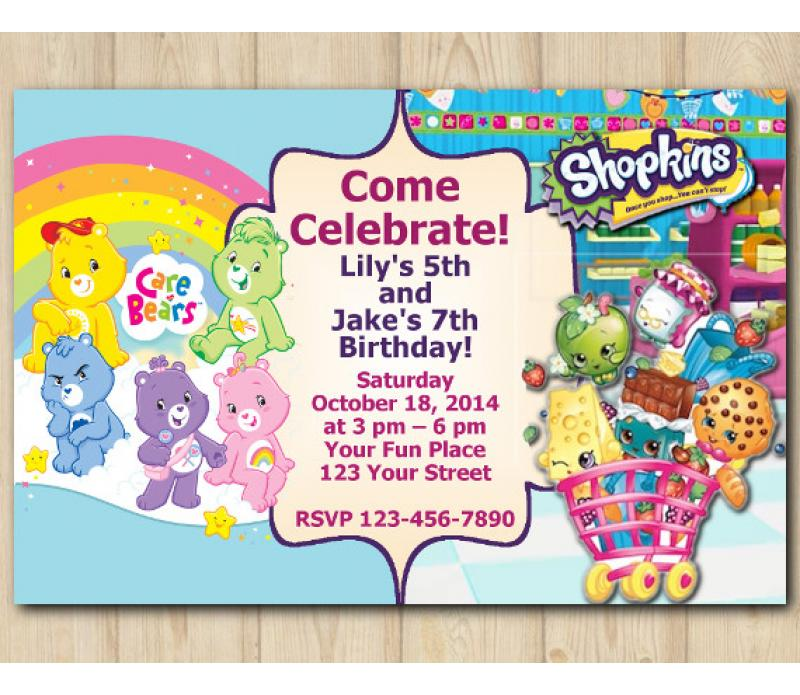 photograph about Shopkins Printable Invitations known as Dual Treatment Bears and Shopkins s Invitation Custom-made Electronic Card
