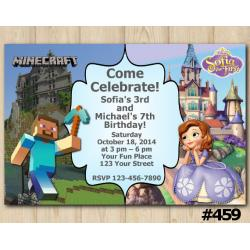 Twin Minecraft and Sofia the First Invitation