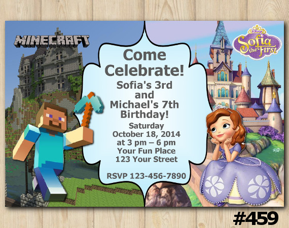 Twin Minecraft and Sofia the First Invitation   Personalized Digital Card