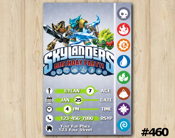 Skylanders Game Card Invitation | KryptKing, SnapShot, FoodFight | Personalized Digital Card