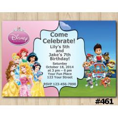 Twin Disney Princess and Paw Patrol Invitation