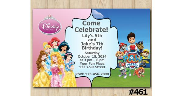 twin disney princess and paw patrol birthday invitation
