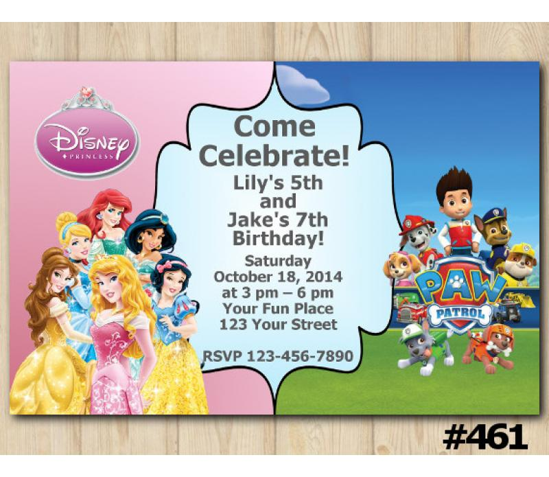 Twin Disney Princess And Paw Patrol Invitation Personalized Digital Card