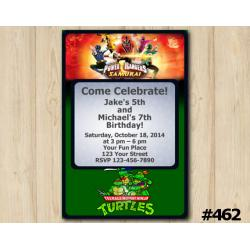 Twin Power Rangers and TMNT Invitation