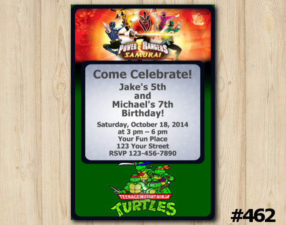 Twin Power Rangers and TMNT Invitation | Personalized Digital Card