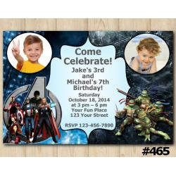 Twin Avengers and TMNT Invitation with Photo