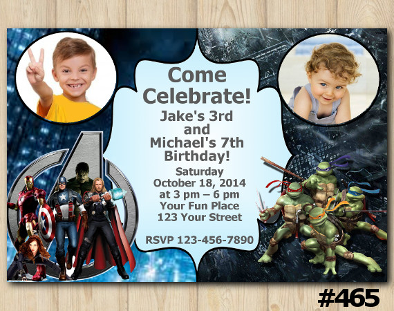 Twin Avengers and TMNT Invitation with Photo | Personalized Digital Card