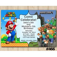 Twin Super Mario and Minecraft Invitation