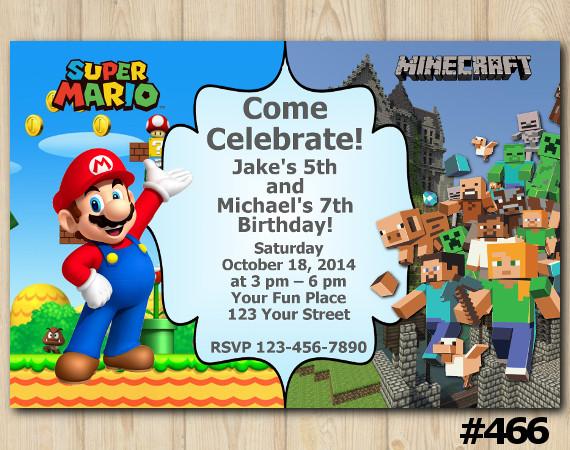 Twin Super Mario and Minecraft Invitation | Personalized Digital Card