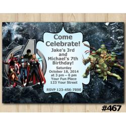 Twin Avengers and TMNT Invitation