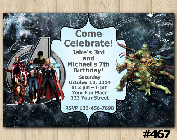 Twin Avengers and TMNT Invitation   Personalized Digital Card