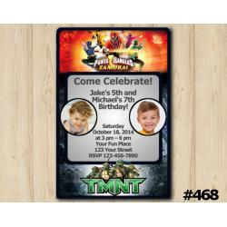 Twin Power Rangers and TMNT Invitation with Photo
