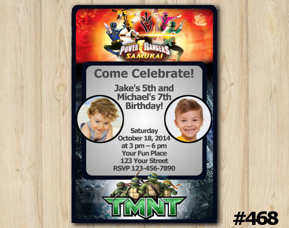 Twin Power Rangers and TMNT Invitation with Photo | Personalized Digital Card