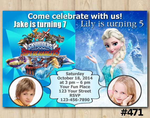 Twin Frozen and Skylanders Invitation with Photo | Personalized Digital Card