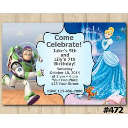 Twin Toy Storry and Cinderella Invitation