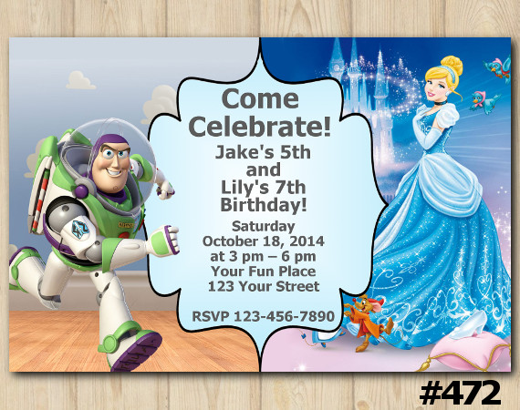 Twin Toy Storry and Cinderella Invitation   Personalized Digital Card