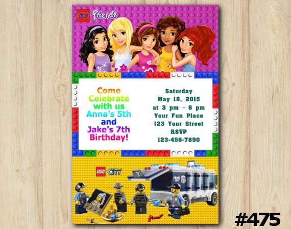 Twin Lego Friends and Lego City Invitation | Personalized Digital Card