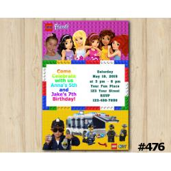 Twin Lego Friends and Lego City Invitation with Photo