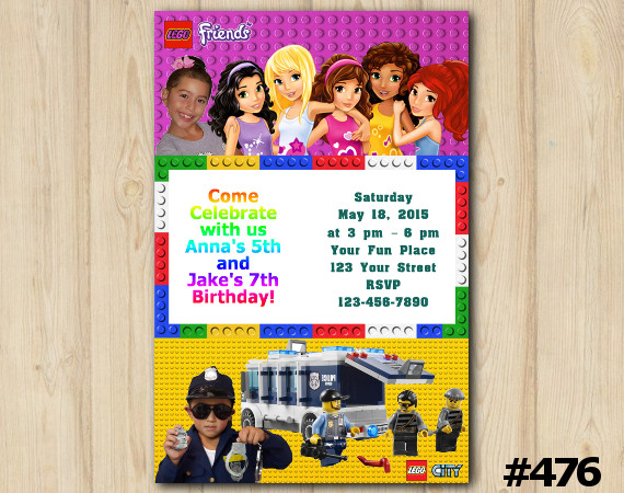 Twin Lego Friends and Lego City Invitation with Photo | Personalized Digital Card