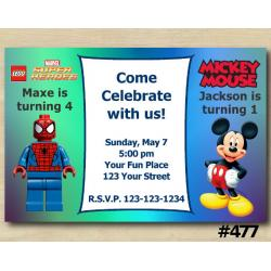 Twin Spiderman Lego and Mickey Invitation