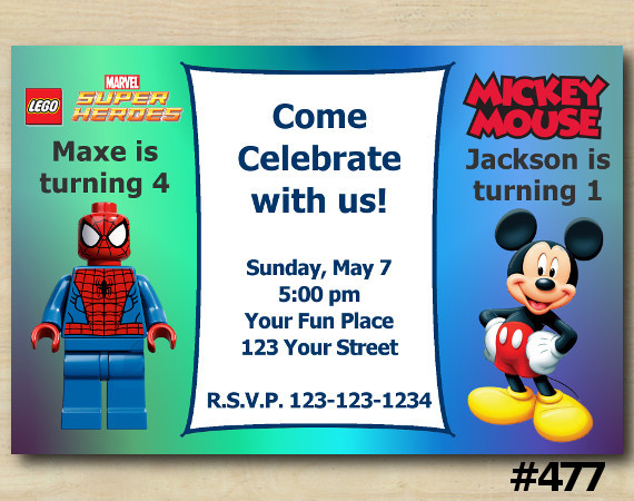 Twin Spiderman Lego and Mickey Invitation | Personalized Digital Card