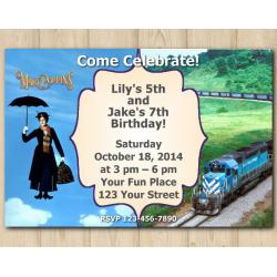 Twin Mary Poppins and Trains Invitation
